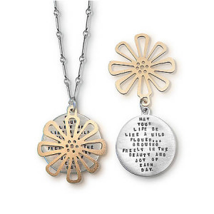 ... Be Like a Wildflower Growing Freely, Native American, Quote Necklace