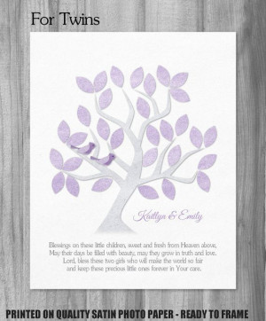 Twins Dedication Gift Baby Girl Baptism Blessing Quote Personalized ...
