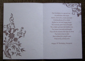 70th Birthday Card Poem