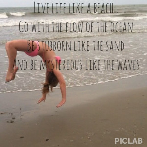 Quote , beach , cheer on the beach . Backhandspring