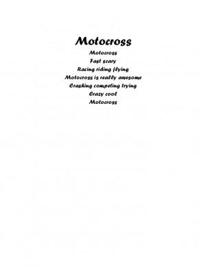 Motocross Poems Motocross Motocross Fast scary