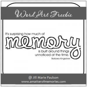WORD ART: Memory Quote Word Art Freebie