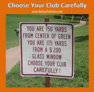 Golf Humor in English : Choose your Club carefully - Best Golf Jokes