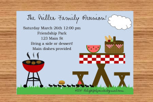 Family reunion picnic bbq invitationDIY you print custom photo card
