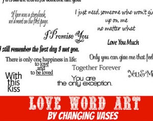 Quotes Fonts Love Wo rd Art Collection 20 Words and Phrases Clip art ...