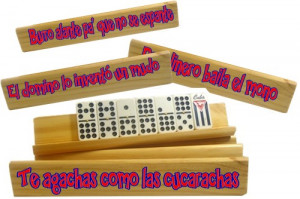 Domino stands, funny with popular Cuban sayings