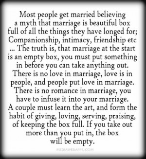 Most people get married believing a myth that marriage is beautiful ...