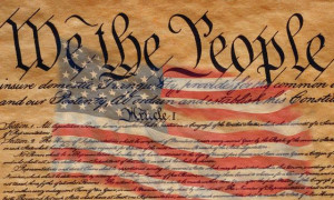 US Flag and Constitution of the United States of America