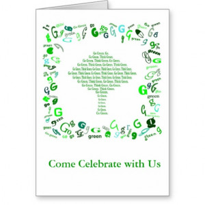 GO GREEN, THINK GREEN Tree in Letter G Greeting Card