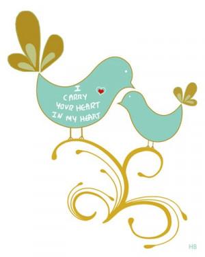 Famous Emotional Art Love birds art print ,quote