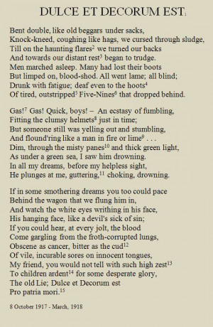 Wilfr Owens Quotes, Poem Wilfr Owens Dulce, Poem War Wilfr Owens, War ...