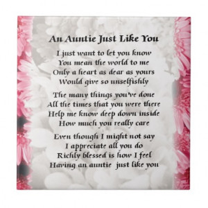 Auntie poem - Pink Floral design Ceramic Tiles
