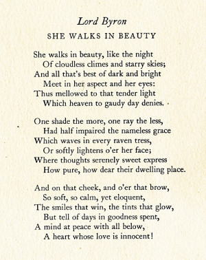 Literature #Lord Byron #She Walks in Beauty #quotes #poetry