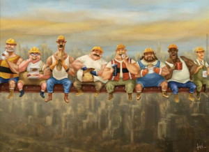 construction workers lunch atop a skyscraper