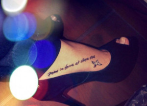 Quote And Bird Tattoo On Foot