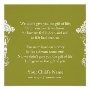 Adoption poem - personalized poster. This poem was on The Fosters - We ...