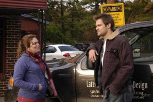 Still of Geoff Stults and Rebecca Field in October Road (2007)