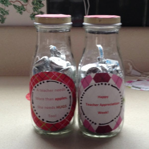 - recycled Starbucks frappicino jars, 30 hershey kisses each, quote ...