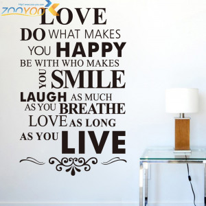 Quotes 'Happy Life Rules' PVC Removable Wall Stickers / ZooYoo New ...