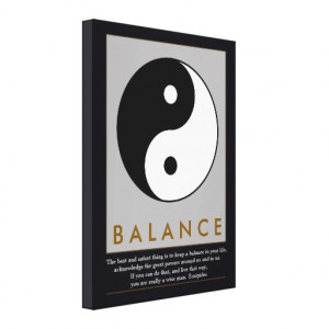 balance zen yin-yang quote stretched canvas print
