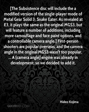 include the a modified version of the single player mode of Metal Gear