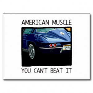 American Muscle Car Classic And Vintage Blue V8 Post Card