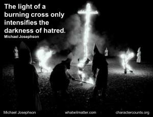 MLK Civil Rights KKK light of cross quote