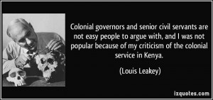 Colonial governors and senior civil servants are not easy people to ...