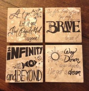 Disney Pixar Quotes Coasters | Hand Painted Pixar Studios Film Quotes