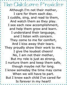... care daycare poem preschool quote teacher childcare provider quotes