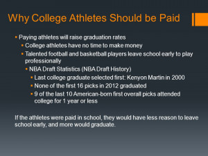 Why College Athletes Should be Paid Division I College Athlete ...