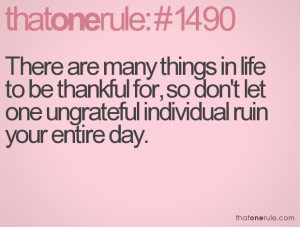 many things in life to be thankful for, so don't let one ungrateful ...