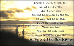 birthday to you 18th birthday message card 18th birthday quotes happy ...