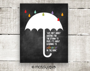 Inspirational Quote Dance in the rain Typography Wall art Motivation ...