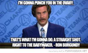 anchorman ron burgandy will ferrell quote punch ovary right in baby ...