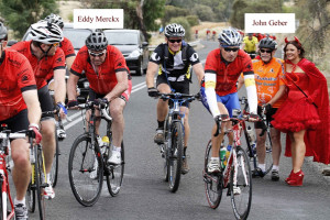 Eddy Merckx and John Geber of Chateau Tanunda