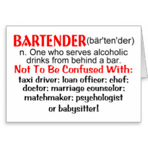 Definition of a Bartender Greeting Cards
