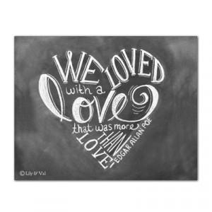 Edgar Allan Poe Heart Shaped Quote - Print
