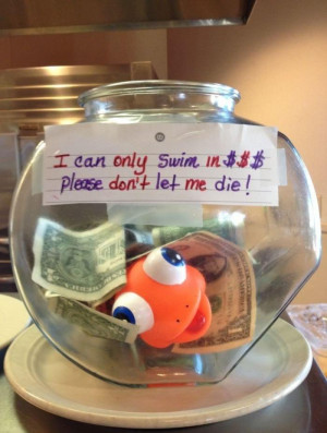 Funny tip jar in a restaurant