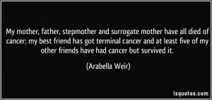mother have all died of cancer; my best friend has got terminal cancer ...