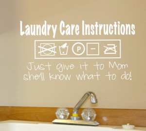Decal - Laundry Care Instructions - Wall vinyl sayings - Laundry Room ...