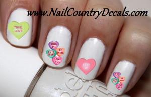 50p Valentine's Day Candy Hearts Sayings Nail Decals Nail Art Nail ...