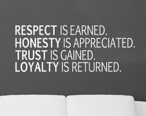 Respect. Honesty. Trust. Loyalty. Removable Vinyl Wall Art
