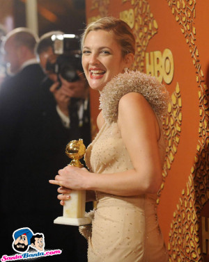 Drew Barrymore holds a Golden Globe for her work in