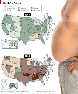 statistiche persone obese per ogni stato americano