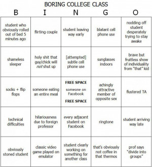 ... Full Size | More boring college class bingo funny quotes jokes and