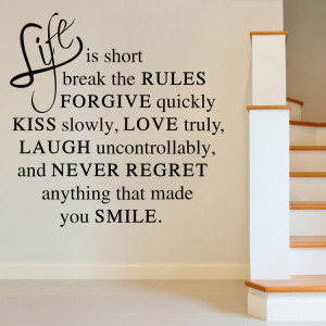 Life Is Short Quote Love Happy Inspirational Vinyl Wall Room Sticker ...