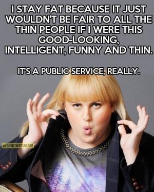 rebel Wilson funny quote pic humour fat joke