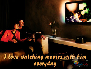 Girl and boy are watching movies together, Love quote with girl and ...