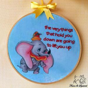 Disney's Dumbo - Handmade Illustrated Embroidered Quote Hoop Nursery ...